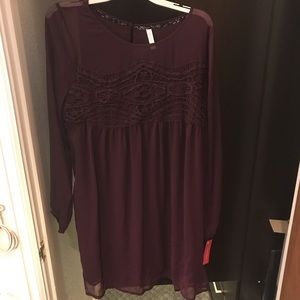 Dark Purple Long Sleeve Dress with Lace Detail